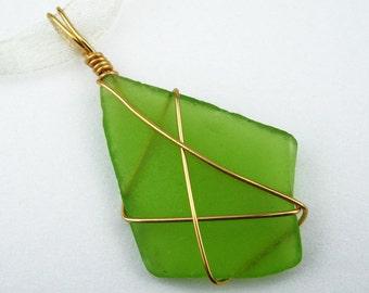 Sea Glass Pendant, Natural, Green, Gold Plated Wire, Diamond Shaped, Natural Beach Glass, Bright Green, Handmade, Organza Ribbon