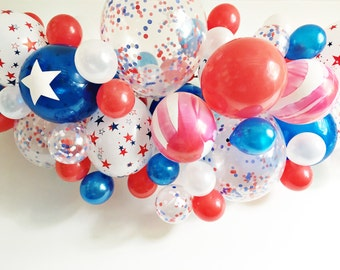 FREE SHIPPING Patriotic DIY Balloon Swag Kit - star confetti red white blue balloon - arch garland banner party decoration
