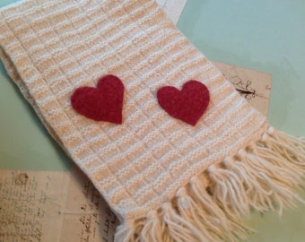 2 HEARTS BEAT As ONE - Felted Wool Oatmeal Color Upcycled Vintage Scarf with 2 Raspberry Cashmere Hearts - Etsy andersonhs