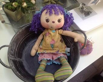 Primitive Raggedy Ann doll,  Amelia