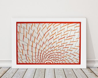 Art Print, Orange Minimalist Art, Lotus Flower Wall Art, Zen Decor, Meditation Art