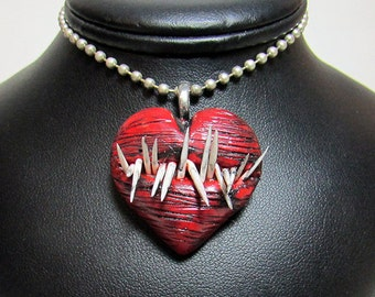 Monster Heart Pendant / Love Bites / Toothy Monster / Horror Jewelry / Polymer Clay / Flexible Teeth / Gothic Jewelry / Blood and Gore