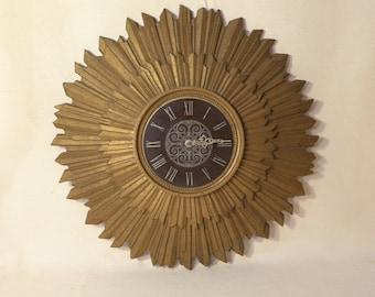 Waltham Sunburst Clock Large Gold Hollywood Regency Wall Clock Raised Starburst Vintage Plastic Clock Mid Century Modern