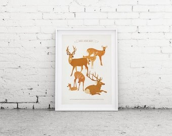 Printable Art, Deer Print, Art Poster, Woodland Decor, Wall Art, Nursery Wall Art, Downloadable Print