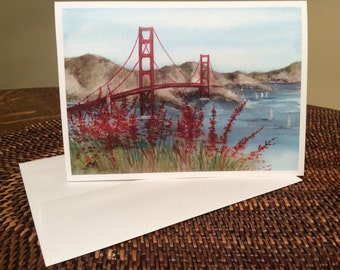 Golden Gate Bridge San Francisco watercolor print card  item LS75