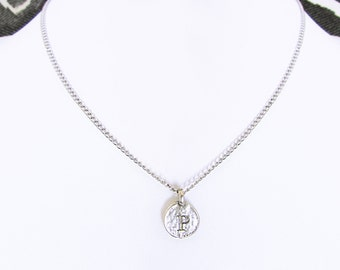"""P personalized teen necklace, unique P initial coin choker for edgy best friend, unique rustic silver monogram charm, """"P"""" best selling items"""