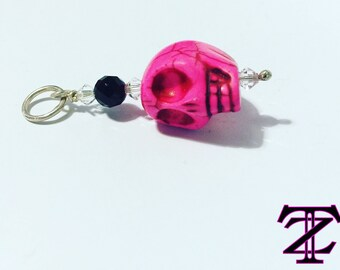"Bright Pink ""Skullz"" Howlite & Sterling Silver Skull Pendant"