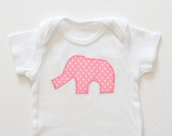 Pink Elephant Onesie, Long or Short Sleeve Bodysuit