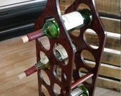 Free Shipping!! Christmas Gift! Upcycled Primitive Wooden 11 Bottle Wine Rack Holder Floor or Table Top. Rustic, Modern, Bar, Home Decor