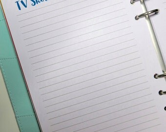 TV show printable planner insert - A5