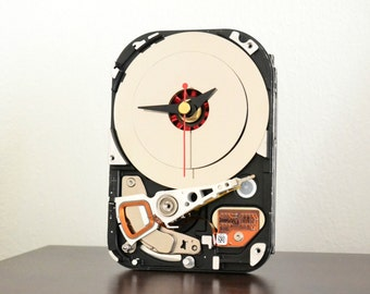 Hard Drive Clock - Retro Desk Clock - Decor and Housewares - Geekery - Home and Living - Unique Clock