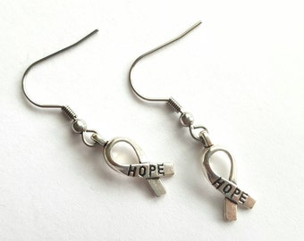 Hope Awareness Ribbon Earrings with Stainless Steel Earwires - Tibetan Silver