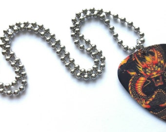 Dragon Guitar Pick Necklace with Stainless Steel Ball Chain