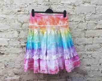 Rainbow Skirt Tie Dye to fit UK Size 8 or US size 8 Festival Hippie Bohemian Boho LGBT Clothing