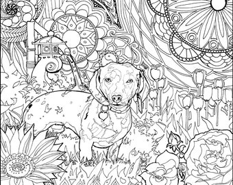 DIY Coloring Page - Zen Dachshund (Weiner dog)