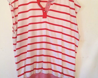 vintage plus size top XXL womens top vintage sporty top womens plus size red and white top striped plus size top plus size womens clothing