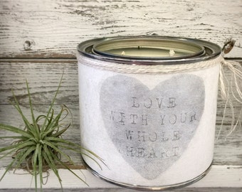 SCENTED SOY CANDLE - Love With Your Whole Heart - All natural soy candle in paint tin container and wrapped with our canvas art