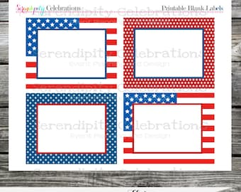 4th of July Blank Labels Instant Download DIY Flat Cards Food Label Buffet Cards Place Cards Dessert Table Name Card Digital File Holiday