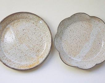 Ceramic Plate Pottery Dish Handmade Set Scalloped