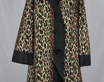 "Vintage Vanity Fair Leopard Print Button Up Jacket Shortie Robe Bust 40"""