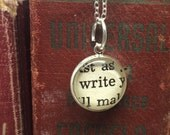 Gifts for Writers, Write Charm Necklace, Literary Gifts, Jewelry for Writers, Teacher Appreciation Gift Ideas