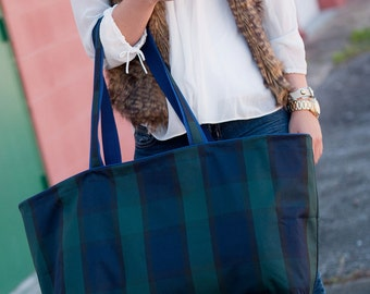 SALE - Navy Blue & Green Preppy Plaid Ultimate Tote Bag - Extra Large Beach Bag Totes