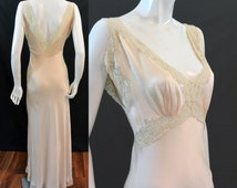 ON SALE Vintage 1930s 1940s Heavenly Silk Lingerie by Fischer Bias Gown Nightgown Nightie Silk CHARMEUSE Alencon Lace Old Hollywood Glamour
