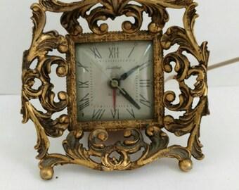 Vintage Guild Crest Clock,Vintage Gold Alarm Clock,Hollywood Regency Clock,Ornate Gold Table clock