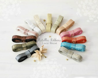 Metallic Ribbons With Cotton Fibers - 3 Yards - Loose Weave Ribbon - DIY Wedding - Metallic Ribbons - Wedding Ribbons - Metallic  Ribbons