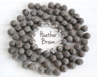 Wool Felt Balls - Size, Approx. 2CM - (18 - 20mm) - 25 Felt Balls Pack - Color Heather Brown-9010 - Felt Poms - 2CM Brown Color Felt Balls
