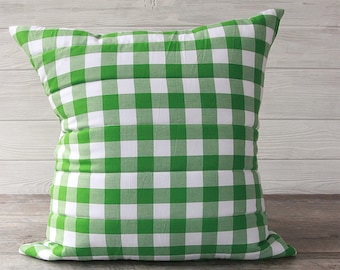 Large Quilted Gingham Pillow - Green