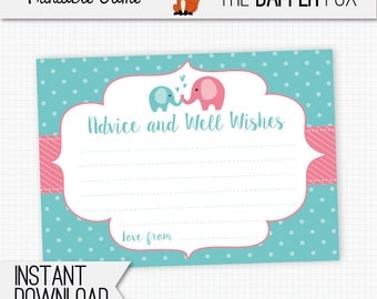 Baby Shower Advice Cards Pink Elephant - printable - Advice and wishes baby shower game Baby Girl Pink and Teal Cute Elephant