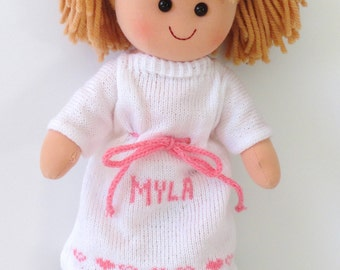 Light Brown Hair Personalized Doll, Choose your dress color, Rag Doll, Flower Girl Gift, Girls Gift, Holiday Gift, Birthday Gift