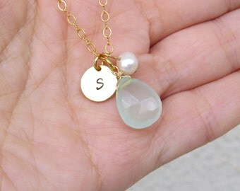 Summer SALE - Small gold initial necklace, Aqua chalcedony necklace