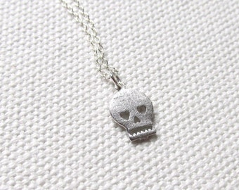 Skull Necklace, Tiny Dainty, Sterling Silver Jewelry, Simple Modern Small Skull