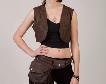 Leather Hip Pouch - tasselled:  pocket belt, bumbag, fanny pack, festivals, travelling, party, burning man