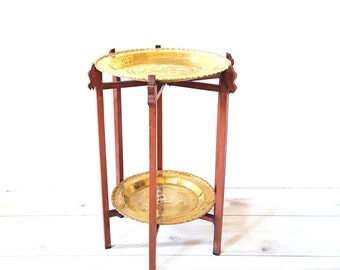 Vintage Brass Tray Table ~ Two Tier Brass Table ~ Etched Brass Asian Tray Table With Folding Base