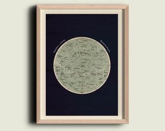 Antique Celestial Sphere Print Astronomy Chart Northern Hemisphere Stars Constellations