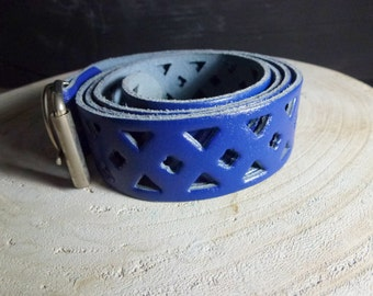 blue leather vintage belt-  leather- good condition old belt