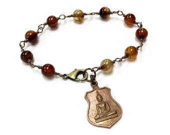 GROUNDING BUDDHA bracelet brown agate bracelet protection amulet antique Buddha charm
