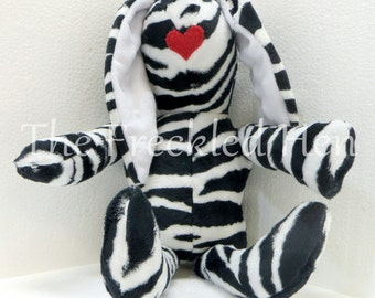 Stuffed animal bunny rabbit hand made doll easter bunny zebra minky plush hand made doll black white red lips free shipping