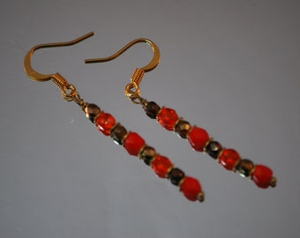 Ea-39 - Red and bronze thin dangle earrings - Czech glass beads - choice of earring findings - mimimalist