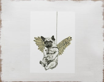 Pug Print -- Dog Drawing // Pug illustration -- Limited Edition flying pug art
