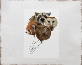 Woodland Animal Print -- Panda Bear Raccoon Owl Rabbit Art // Limited Edition Watercolour Illustration
