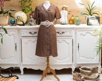 Vintage Polka Dot Dress Brown/White by Ju Mo
