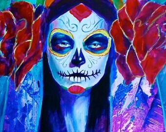 Original Sin Day of the Dead Sugar Skull Dia De Los Muerto Giclee Canvas  Mexican Print Wall Art Colorful Abstract Pop Art