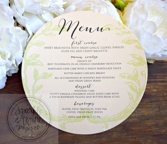 Social Events Menus From Branches: Wedding Menu Olive Branch Round Plate Menu By