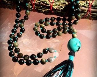Obsidian, Rose Quartz, Turquoise Necklace