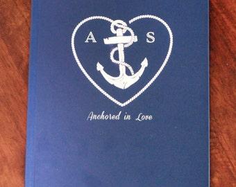 Nautical Wedding Guest Book, Anchor Themed Weddings, Custom Guest Books, Wedding Scrapbook, Anchored in Love Guest Books, Custom Guest Book