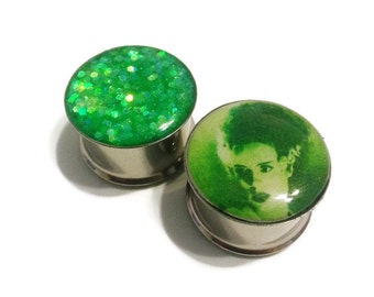 Bride of Frankenstein Plugs sizes 2g - 2 Inches Double Flare or Single Flare